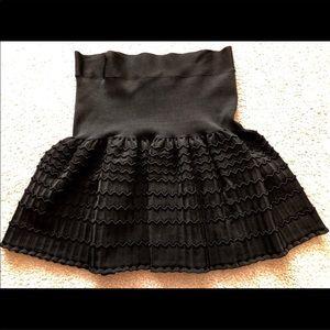 BCBG black knit stretchy flare skirt size L